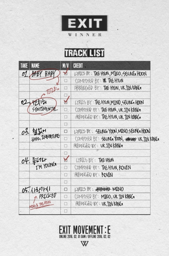 160119 WINNER - EXIT MOVEMENT E TRACKLIST