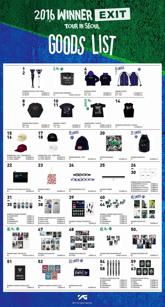 160310 WINNER EXIT TOUR CONCERT GOODS